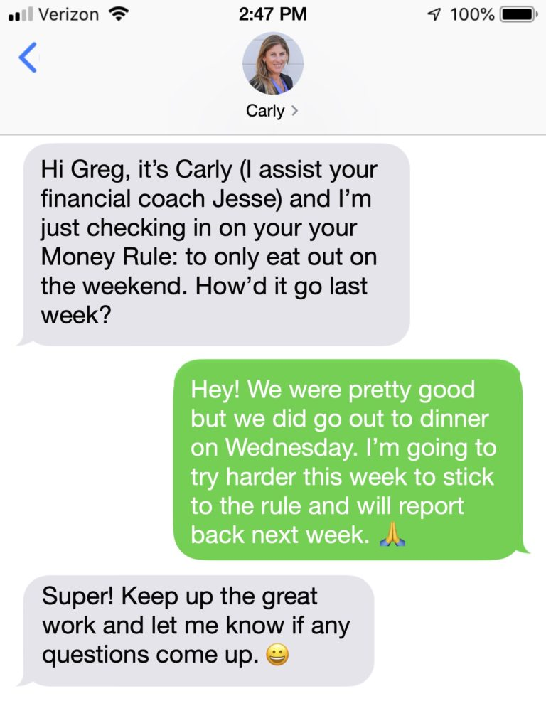 Carly SMS mesage copy